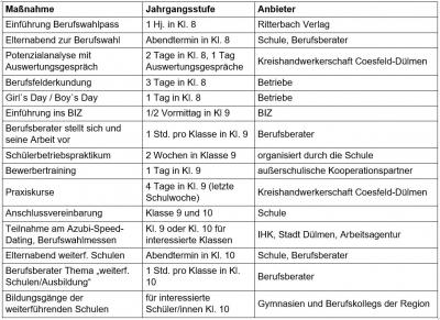 Tabelle Maßnahmen Berufswahl