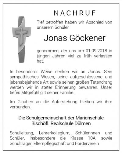 Nachruf für Jonas Göckener