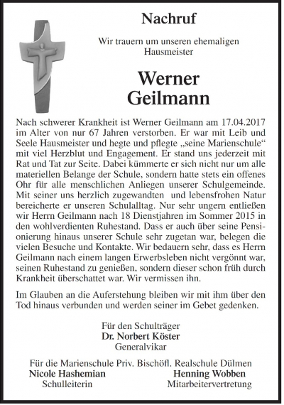 Nachruf für Werner Geilmann